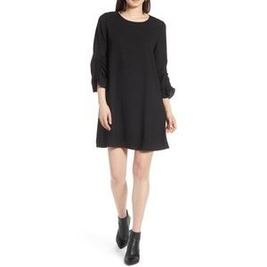 Halogen NWT Black Womens Ruched Sleeve Swing Dress